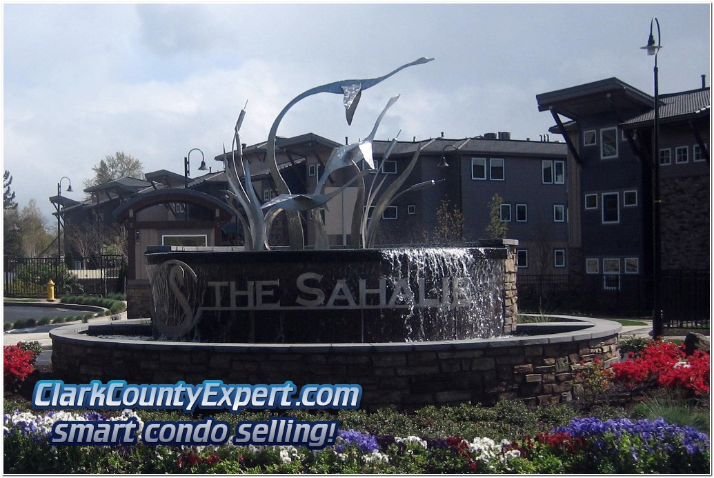 View of entrance to The Sahalie at Tidwater Cover Condos, Vancouver WA